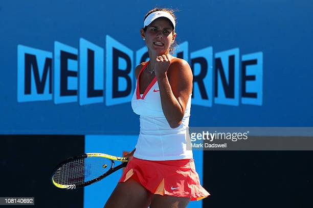 Julia Goerges of Germeny celebrates during her second round match against Kaia Kanepi of Estonia on day three of the 2011 Australian Open at...