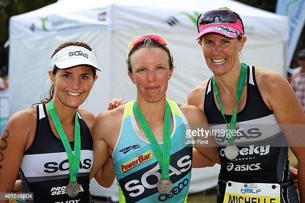 Julia Grant Gina Crawford and Michelle Bremer top three female finishers of the Port of Tauranga Half Ironman on January 10 2015 in Tauranga New...