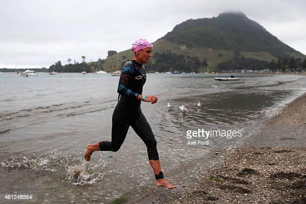 Julia Grant on the swim leg of the Port of Tauranga Half Ironman on January 10 2015 in Tauranga New Zealand