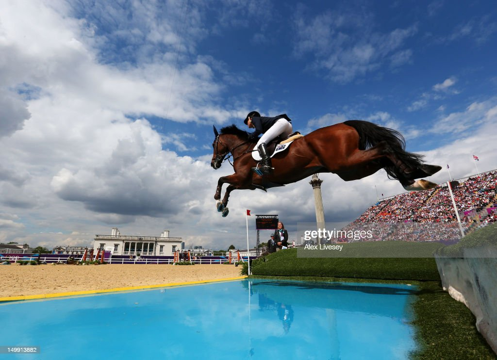 Julia Hargreaves of Australia riding Vedor competes in the 3rd Qualifier of Individual Jumping on Day 10 of the London 2012 Olympic Games at...