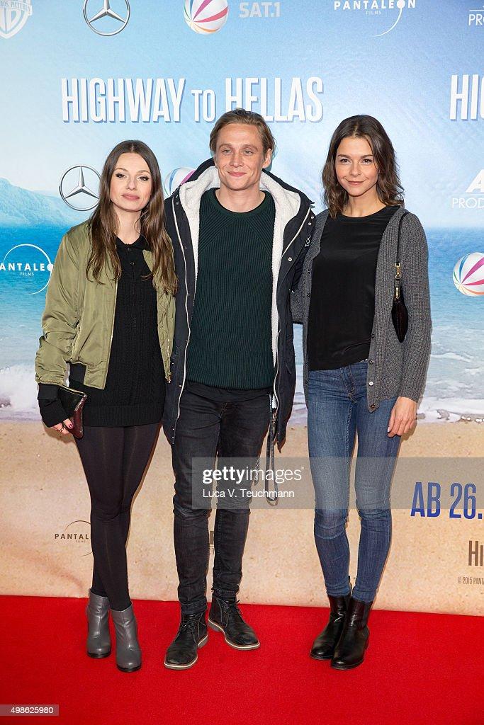 Julia Hartmann Matthias Schweighoefer and Susan Hoecke attend the 'Highway to Hellas' German Premiere at Kino in der Kulturbrauerei on November 24...