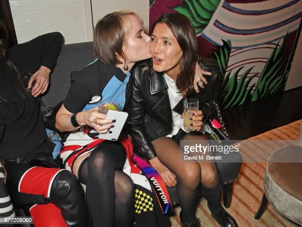Julia Hobbs and Hikari Yokoyama attend Louis Vuittons Celebration of GingerNutz in Vogue's December Issue on November 21 2017 in London England
