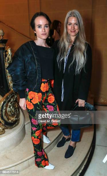 Julia Hobbs and Sarah Harris attends the BFC/Vogue Designer Fashion Fund winners announcement at Hotel Cafe Royal on April 4 2017 in London England