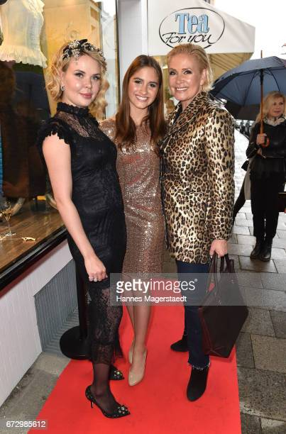 Julia K owner Kunst and Kleid Lucia Strunz and Claudia Effenberg during the 'Kunst Kleid' fashion cocktail on April 25 2017 in Munich Germany