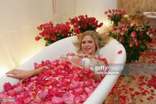 Julia Kardash sits in an evian bath before the Alexander Gapchuk Fashion Show as part of Russian Fashion Week Spring/Summer 2007 on October 21 2006...