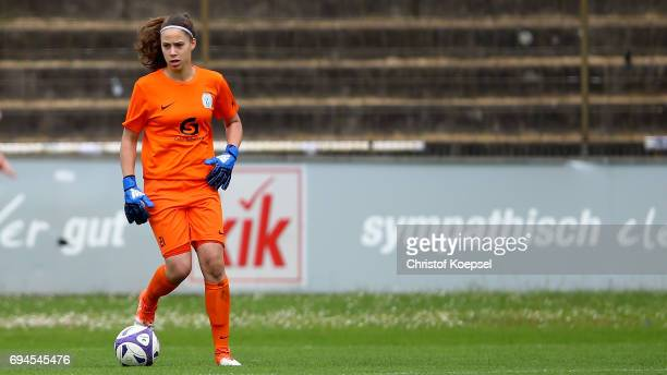 Julia Kassen of Meppen runs with the ball during the B Junior Girl's German Championship Semi Final match between SV Meppen and Bayern Muenchen at...
