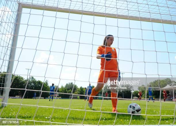 Julia Kassen of SV Meppen gets the ball out of the goal during the B Junior Girl's German Championship Semi Final First Leg match between FC Bayern...