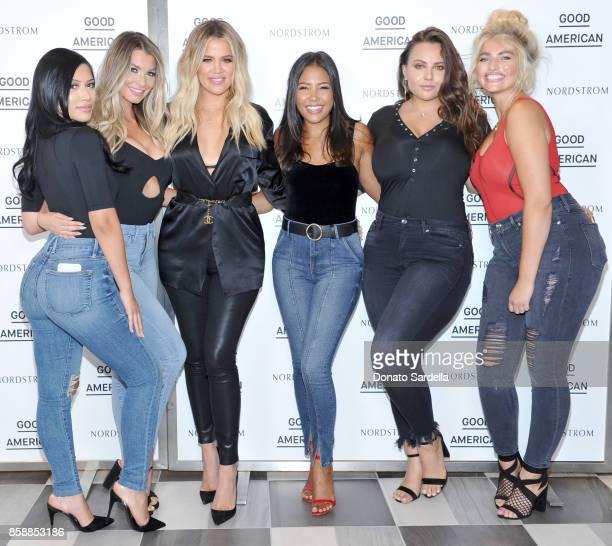 Julia Kelly Emily Sears cofounders of Good American Khloe Kardashian and Emma Grede Anna Krylova and Sarina Nowak attend Good American Anniversary...