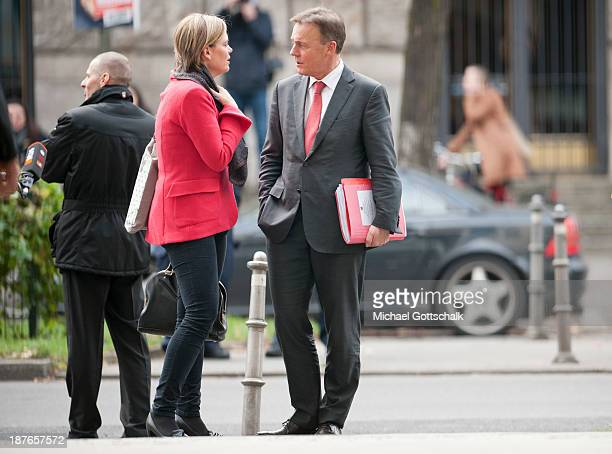 Julia Kloeckner head of German Christian Democratic Union in RhinelandPalatinate and Thomas Oppermann member of the Board of the German Social...