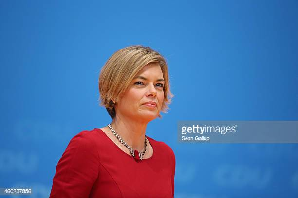 Julia Kloeckner head of the German Christian Democrats in RhinelandPalatinate prepares to speak at the CDU annual party congress on December 10 2014...
