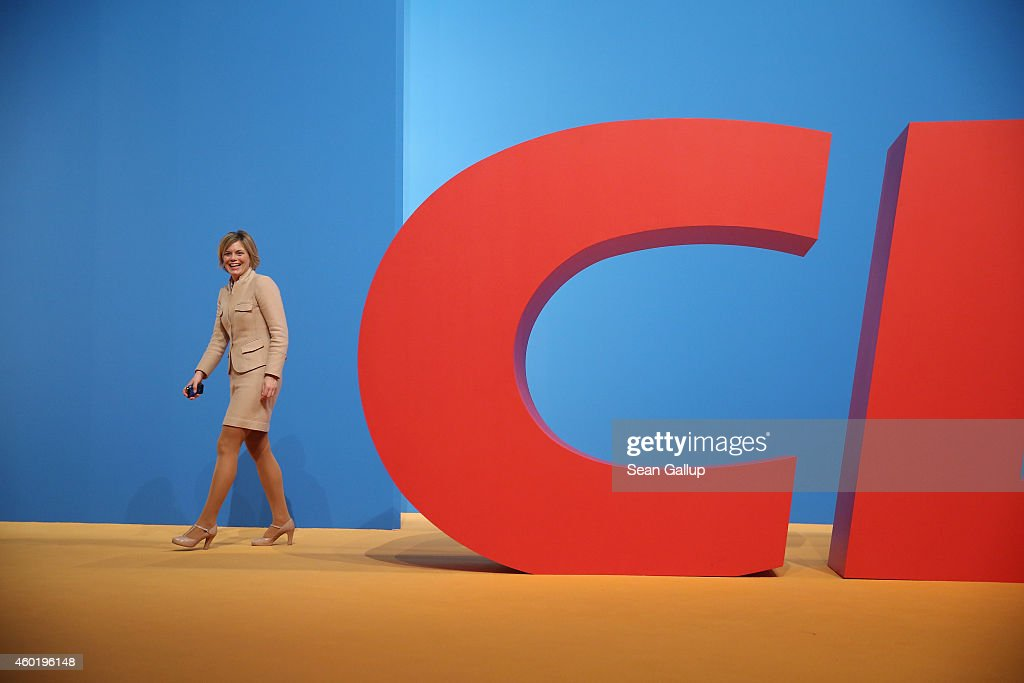 <a gi-track='captionPersonalityLinkClicked' href=/galleries/search?phrase=Julia+Kloeckner&family=editorial&specificpeople=6902085 ng-click='$event.stopPropagation()'>Julia Kloeckner</a>, head of the German Christian Democrats (CDU) in Rhineland-Palatinate, walks past the CDU logo as she attends the CDU annual party congress on December 9, 2014 in Cologne, Germany. The CDU is the senior partner in Germany's ruling government coalition.