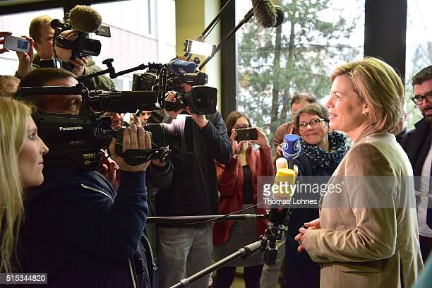 Julia Kloeckner lead candidate for the German Christian Democrats in RhinelandPalatinate state elections gives a press statement at polling station...