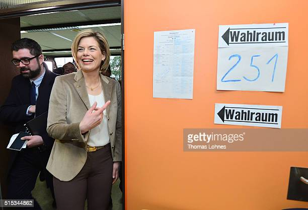 Julia Kloeckner lead candidate for the German Christian Democrats in RhinelandPalatinate state elections leaves a polling station for the...