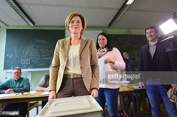 Julia Kloeckner lead candidate for the German Christian Democrats in RhinelandPalatinate state elections castes her ballot in RhinelandPalatinate...