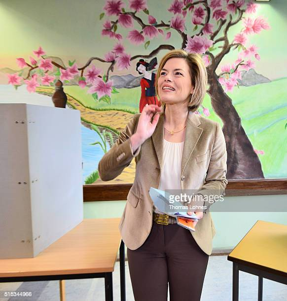 Julia Kloeckner lead candidate for the German Christian Democrats in RhinelandPalatinate state elections casts her ballot in RhinelandPalatinate...