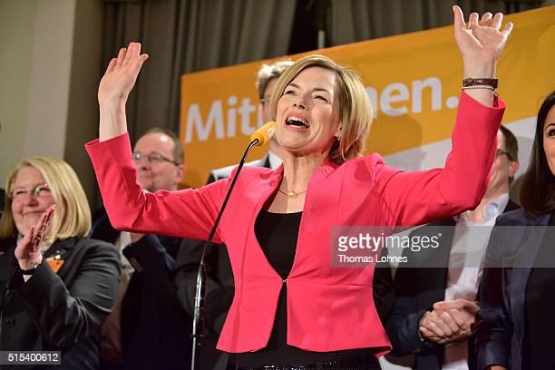 Julia Kloeckner lead candidate for the German Christian Democrats in RhinelandPalatinate state elections reacts after the first extrapolation at the...