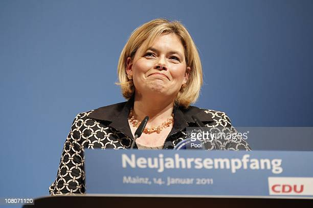 Julia Kloeckner top candidate of Christian Democratic Union delivers a speech during the New Year's reception of her conservative party Christian...