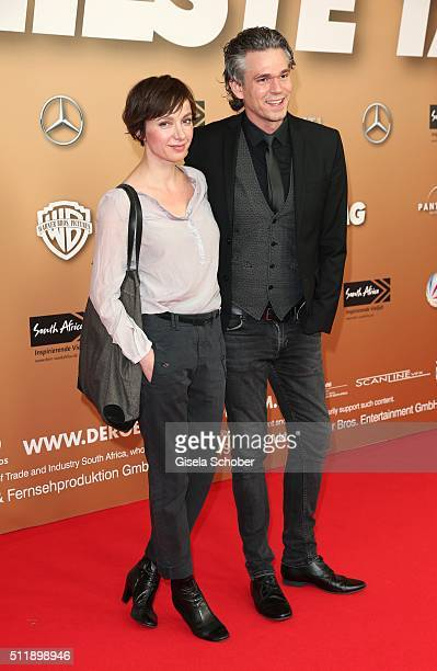 Julia Koschitz and Matthias Beier during the German premiere of the film 'Der geilste Tag' on February 23 2016 in Munich Germany