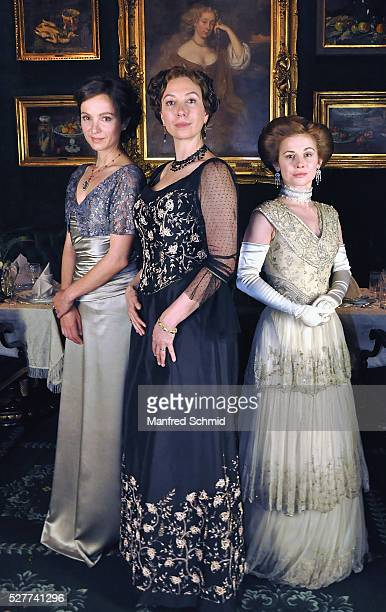 Julia Koschitz Ursula Strauss and Josefine Preuss pose during a photo call for the film 'Sacher' at Hotel Sacher on May 3 2016 in Vienna Austria