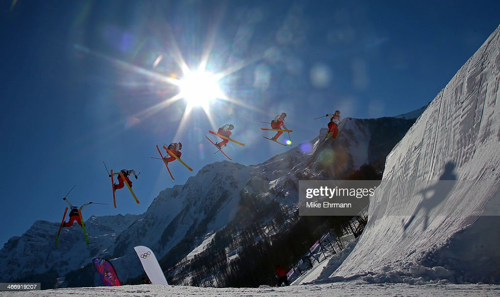 Julia Krass of the United States practices during training for Ski Slopestyle at the Extreme Park at Rosa Khutor Mountain on February 5, 2014 in Sochi, Russia.