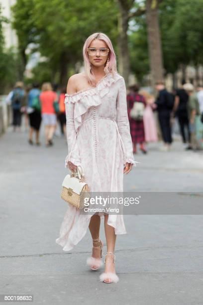Julia Kuczynska wearing a dress outside Ann Demeulemeester during Paris Fashion Week Menswear Spring/Summer 2018 on June 23 2017 in Paris France
