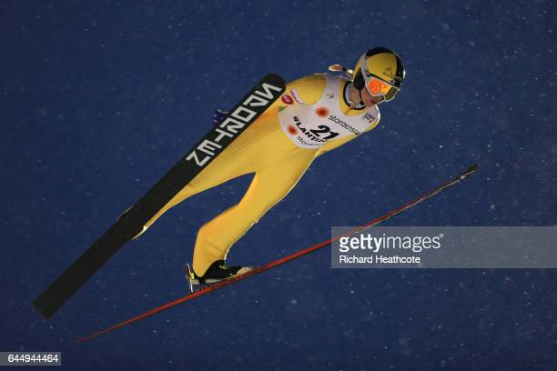 Julia Kykkaenen of Finland competes in the Women's Ski Jumping HS100 during the FIS Nordic World Ski Championships on February 24 2017 in Lahti...