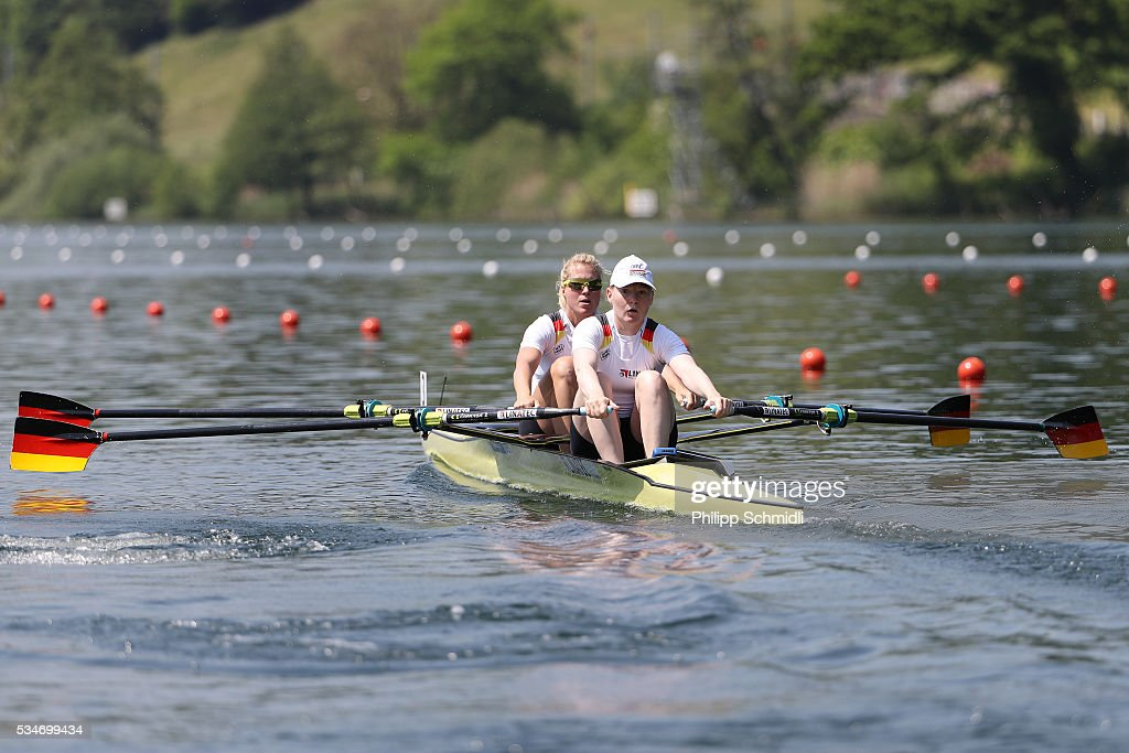Julia Lier (L) and Mareike Adams of Germany compete in the Women's Double Sculls heats during day 1 of the 2016 World Rowing Cup II at Rotsee on May 27, 2016 in Lucerne, Switzerland.