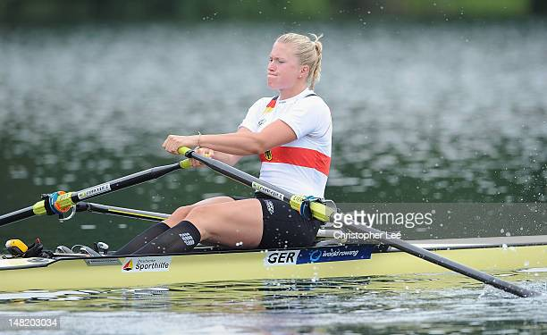 Julia Lier of Germany in the Women's Single Sculls heats during Day 2 of the 2012 FISA World Rowing U23 Championships on July 12 2012 in Trakai...