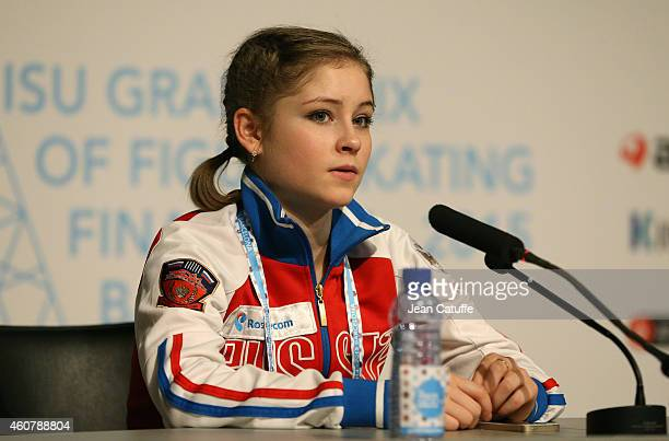 Julia Lipnitskaia of Russia answers to the media during a press conference following the Ladies Short Program Final on day one of the ISU Grand Prix...