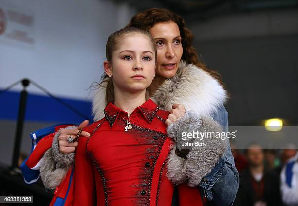Julia Lipnitskaia of Russia gets some advice from her coach Eteri Tutberidze prior to the Ladies Free Skating event of the ISU European Figure...