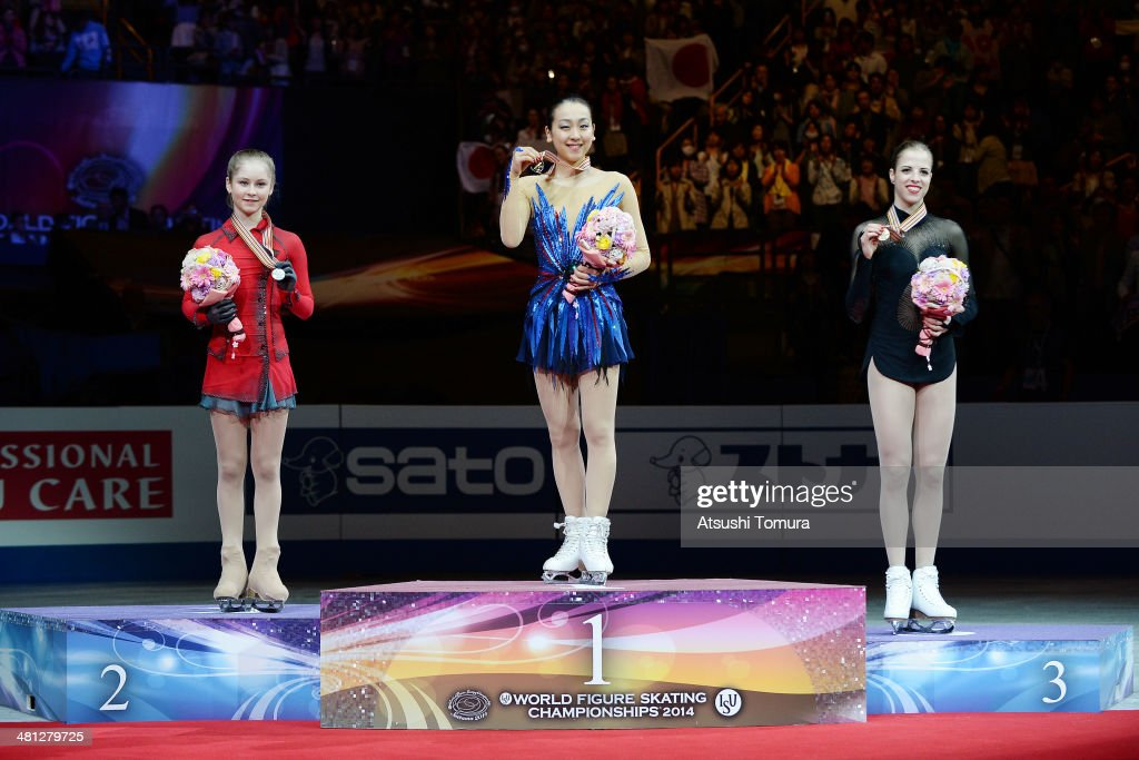 <a gi-track='captionPersonalityLinkClicked' href=/galleries/search?phrase=Julia+Lipnitskaia&family=editorial&specificpeople=8736202 ng-click='$event.stopPropagation()'>Julia Lipnitskaia</a> (Silver) of Russia, <a gi-track='captionPersonalityLinkClicked' href=/galleries/search?phrase=Mao+Asada&family=editorial&specificpeople=247229 ng-click='$event.stopPropagation()'>Mao Asada</a> (Gold) of Japan and <a gi-track='captionPersonalityLinkClicked' href=/galleries/search?phrase=Carolina+Kostner&family=editorial&specificpeople=729836 ng-click='$event.stopPropagation()'>Carolina Kostner</a> (Bronze) of Italy pose with medal in the victory ceremony during ISU World Figure Skating Championships at Saitama Super Arena on March 29, 2014 in Saitama, Japan.