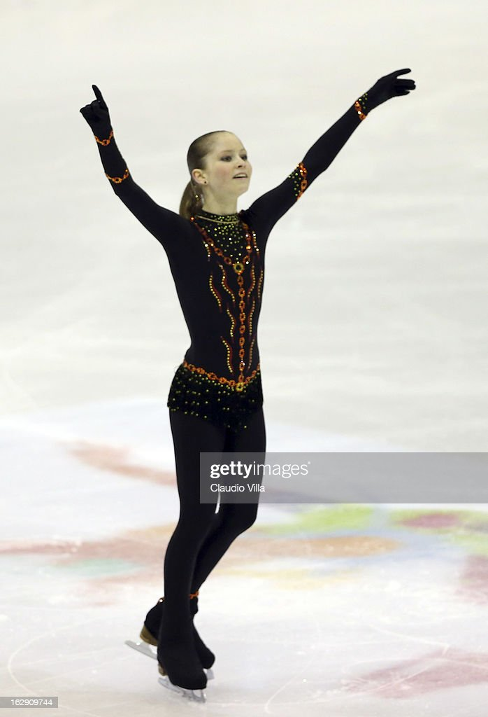 Julia Lipnitskaia of Russia skates in the Junior Ladies Short Program during day 5 of the ISU World Junior Figure Skating Championships at Agora Arena on March 01, 2013 in Milan, Italy.