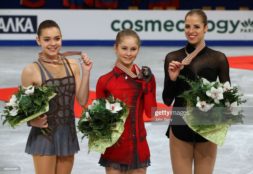 <a gi-track='captionPersonalityLinkClicked' href=/galleries/search?phrase=Julia+Lipnitskaia&family=editorial&specificpeople=8736202 ng-click='$event.stopPropagation()'>Julia Lipnitskaia</a> of Russia (center) wins the gold medal in front of silver medal <a gi-track='captionPersonalityLinkClicked' href=/galleries/search?phrase=Adelina+Sotnikova&family=editorial&specificpeople=7380612 ng-click='$event.stopPropagation()'>Adelina Sotnikova</a> of Russia (left) and bronze medal <a gi-track='captionPersonalityLinkClicked' href=/galleries/search?phrase=Carolina+Kostner&family=editorial&specificpeople=729836 ng-click='$event.stopPropagation()'>Carolina Kostner</a> of Italy (right) in the Ladies event of the ISU European Figure Skating Championships 2014 held at the Syma Hall stadium on January 17, 2014 in Budapest, Hungary.