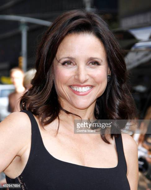 Julia Louis Dreyfuss arrives for the 'Late Show with David Letterman' at Ed Sullivan Theater on July 30 2014 in New York City