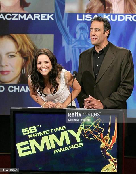 Julia LouisDreyfus and Brad Garrett during 58th Annual Primetime Emmy Nominations Announcement at Leonard H Goldenson Theatre in Los Angeles...