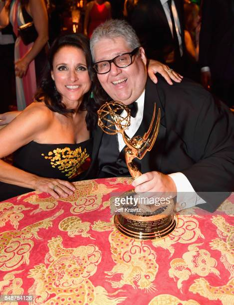 Julia LouisDreyfus and David Mandel attend the HBO's Official 2017 Emmy After Party at The Plaza at the Pacific Design Center on September 17 2017 in...