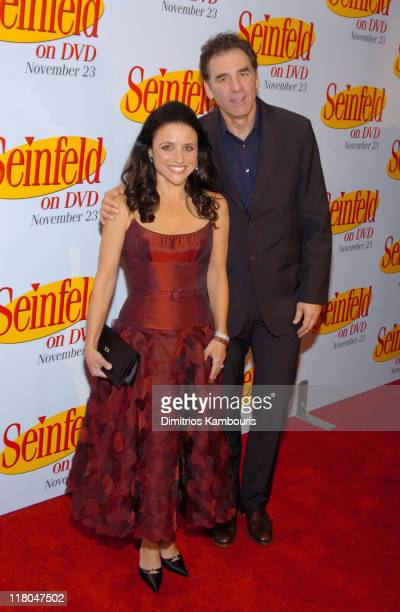 Julia LouisDreyfus and Michael Richards during 'Seinfeld' New York DVD Release Party at Rockefeller Plaza in New York City New York United States
