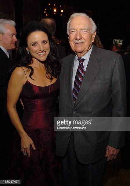 Julia LouisDreyfus and Walter Cronkite during 'Seinfeld' New York DVD Release Party at Rockefeller Plaza in New York City New York United States