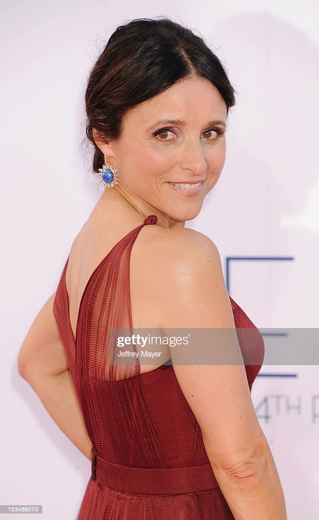 Julia Louis-Dreyfus arrives at the 64th Primetime Emmy Awards at Nokia Theatre L.A. Live on September 23, 2012 in Los Angeles, California.