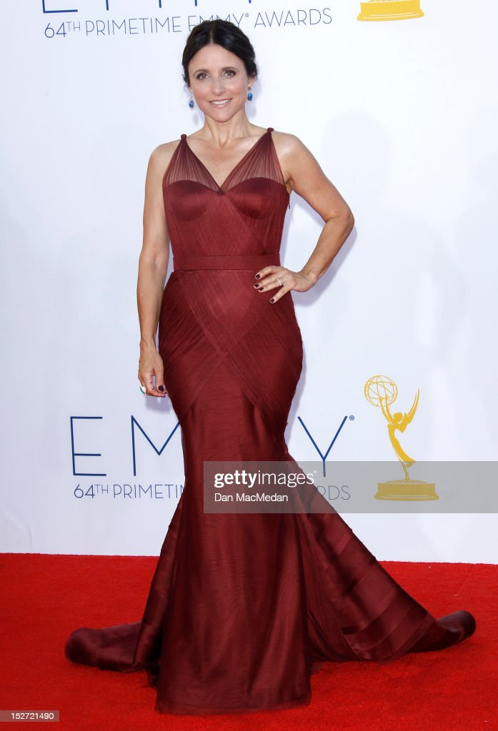 Julia Louis-Dreyfus arrives at the 64th Primetime Emmy Awards held at Nokia Theatre L.A. Live on September 23, 2012 in Los Angeles, California.