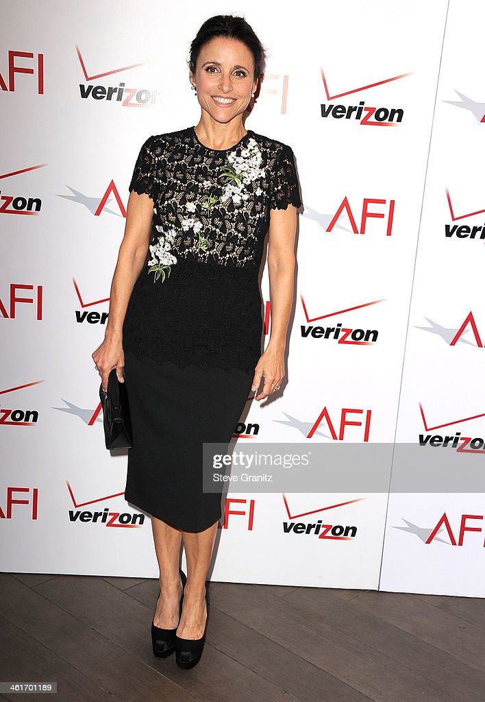 <a gi-track='captionPersonalityLinkClicked' href=/galleries/search?phrase=Julia+Louis-Dreyfus&family=editorial&specificpeople=208965 ng-click='$event.stopPropagation()'>Julia Louis-Dreyfus</a> arrives at the American Film Institute Awards Luncheon at Four Seasons Hotel Los Angeles at Beverly Hills on January 10, 2014 in Beverly Hills, California.