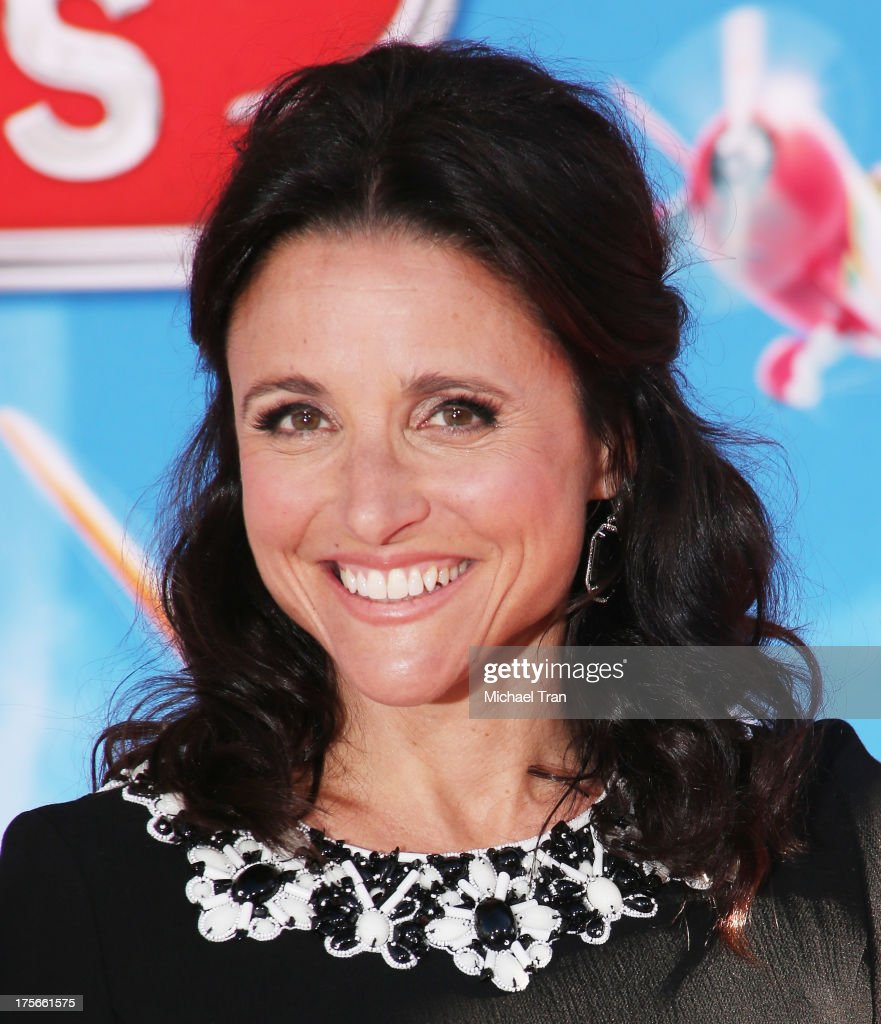 <a gi-track='captionPersonalityLinkClicked' href=/galleries/search?phrase=Julia+Louis-Dreyfus&family=editorial&specificpeople=208965 ng-click='$event.stopPropagation()'>Julia Louis-Dreyfus</a> arrives at the Los Angeles premiere of 'Planes' held at the El Capitan Theatre on August 5, 2013 in Hollywood, California.