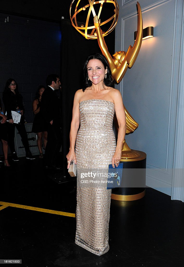 <a gi-track='captionPersonalityLinkClicked' href=/galleries/search?phrase=Julia+Louis-Dreyfus&family=editorial&specificpeople=208965 ng-click='$event.stopPropagation()'>Julia Louis-Dreyfus</a> at the 65th Primetime Emmy Awards, which will be broadcast live across the country 8:00-11:00 PM ET/ 5:00-8:00 PM PT from NOKIA Theater L.A. LIVE in Los Angeles, Calif., on Sunday, Sept. 22 on the CBS Television Network.