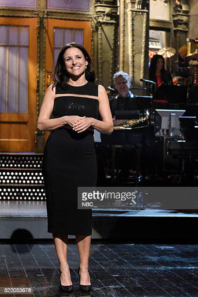 LIVE 'Julia LouisDreyfus' Episode 1701 Pictured Julia LouisDreyfus during the monologue on April 16 2016