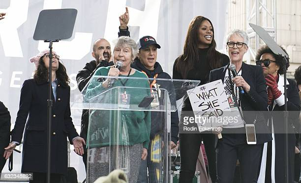 Julia LouisDreyfus Helen Reddy Gina Belafonte Laverne Cox and Jamie Lee Curtis sing onstage at Women's March Los Angeles on January 21 2017 in Los...