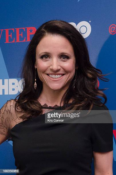 Julia LouisDreyfus poses for photo during the HBO's 'VEEP' Season 2 Premiere at Motion Picture Association of America on April 11 2013 in Washington...