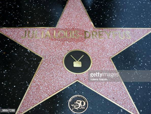 Julia LouisDreyfus' star is seen at the Hollywood Walk of Fame ceremony honoring her on May 4 2010 in Hollywood California