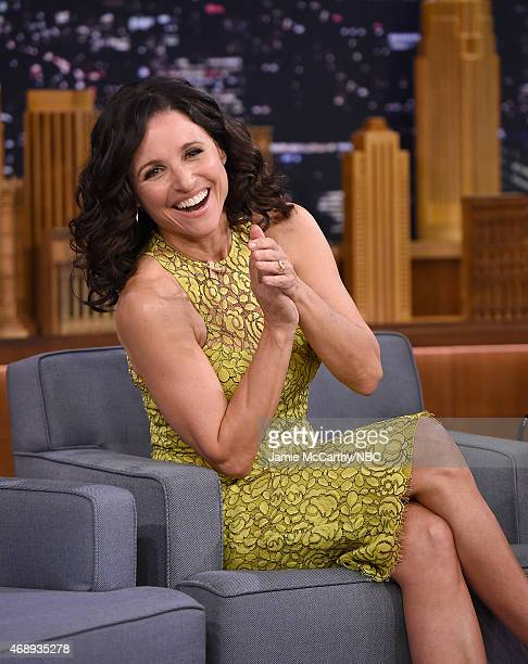 Julia LouisDreyfus Visits 'The Tonight Show Starring Jimmy Fallon' at Rockefeller Center on April 8 2015 in New York City