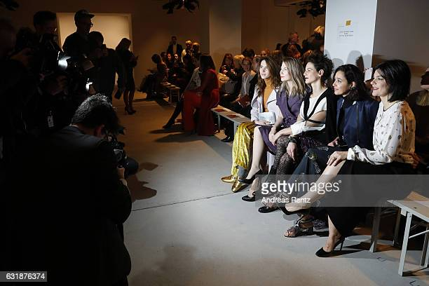 Julia Malik Nora von Waldstaetten Bibiana Beglau Dorka Gryllus and Jasmin Tabatabai attend the Dorothee Schumacher show during the MercedesBenz...