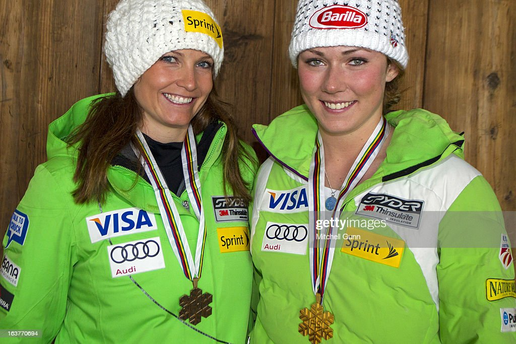 Julia Mancuso and Mikaela Shiffrin of the USA pose with their World Championship Medals on March 15, 2013 in Lenzerheide, Switzerland,